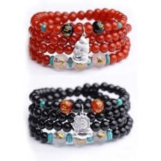 shipping natural red agate beads bracelet triple mascot zodiaccircle 925 silver jewelry bracelets men and women - the dragon(black agate) - intl