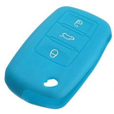 Silicone Remote Key Case Shell Cover Flip FOB For VW Golf Mk6 Jetta Polo (Light Blue) (Intl)