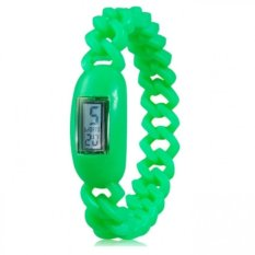 Silicone Waterproof Anion Negative Ion Sports Bracelet Wrist Watch With Calendar Display (Green)