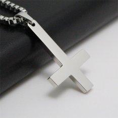 Silver 316L Stainless Steel Inverted Cross Titanium Steel Pendant Necklace Lucifer Satan Fashion Vintage Punk Jewelry