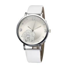 Simplicity Distinctive Big Face PU Leather Strap Ladies Girls Quartz Watch (White)
