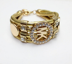 Single Micro Diamond Jewelry Big Punk PU Cortical MK Bracelet Retro Female Bracelet Men (Kim) (Intl)