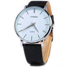 SINOBI 0.6mm Ultra Thin Watchcase Slim Quartz Casual Wristwatch JAPAN Genuine Leather Analog Quartz Watch Men's 2016 Relogio Masculino - Intl