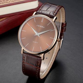 SINOBI Male Ultra-thin Business Watches Upgraded Leather Strap Analog Quartz Waterproof Classic Wristwatch (Brown)