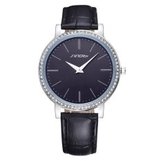 SINOBI Ultrathin Big Dial Genuine Leather Strap Waterproof Crystal Women Dress Quartz Watch (Black) (Intl)