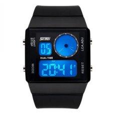 SKMEI 0841 Dual Digital Movement Colorful LED Analog Unisex Sport Wrist Watch (Black)