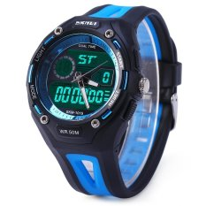 Skmei 1015 Double Movt Military LED Watch 5ATM Water Resistant Day Date Alarm Sports Wristwatch (BLUE)