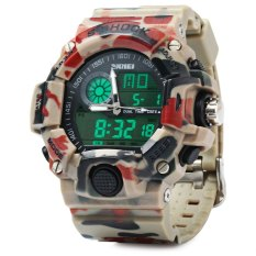 Skmei 1029 Army LED Dual-movt Wristwatch Week Date Stopwatch 5ATM Water Resistant Military Watch For Sports (Red + Camo) (Intl)