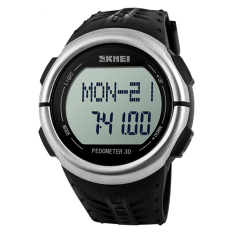 Skmei 1058 Men & Women Digital Watches Waterproof 50M LED Backlight Wristwatch Silver