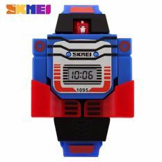 Skmei 1095 Jam Tangan Transformer Mainan Anak Fashion Waterproof Quartz Digital Men Lady Kid Watch - Red