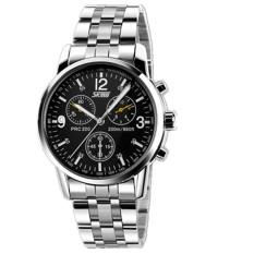 Skmei 9070B Mens Fashion Full Stainless Steel Calendar Quartz Watch Silver (Intl)