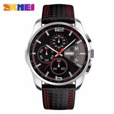 Skmei 9106 Sports Watches Men's Quartz Hour Date Clock Man Leather Strap Waterproof Wristwatch - Intl