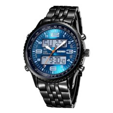 SKMEI Authentic Mens Watch Waterproof Luminous Hunter Three Eyes Decoration Black Knight Cool Mens Watch-Blue (Intl)