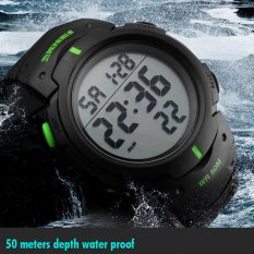 Skmei Brand Men Sports 50M Waterproof Digital LED Military Swim Alarm Outdoor Casual Watch (Green) (Intl)
