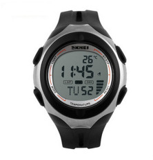 SKMEI Brand Outdoor Sports Watches Unisex Multifunction Temperature Digital Watch Black White (Intl)