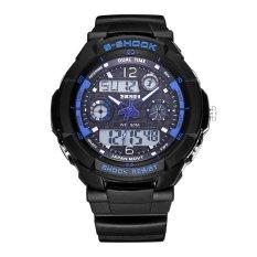 SKMEI Brand Outdoor Waterproof Multifunctional Climbing Double Display Electronic Watch Hot Diving Men's Watch-Blue (Intl)