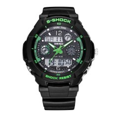 SKMEI Brand Outdoor Waterproof Multifunctional Climbing Double Display Electronic Watch Hot Diving Men's Watch-Green (Intl)