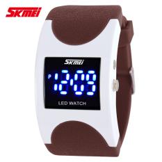 SKMEI Brand Women LED Digital Watch Sports Watches Fashion Arced Dial 30m Waterproof Electronic Student Dress Wristwatches (Brown)