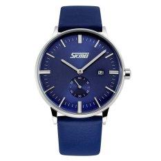 SKMEI Casual Men Leather Strap Watch Water Resistant 30m - 9083CL - Biru