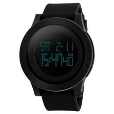 SKMEI Casual Trendi Men LED Display Watch Water Resistant 50m Jam Tangan Unisex Tali Rubber Karet 1142 - Hitam