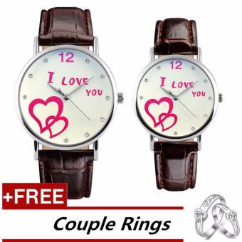 SKMEI Classic Lovers Couple Watch Women Men's Watches Quartz Waterproof Wrist Watches 9120 - Brown White