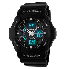SKMEI Digital Watches 2 Time Zones Quartz Electronic LED Watch Black (Intl)