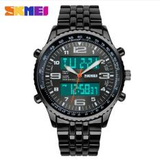 Skmei Fashion Casual Watches Men Luxury Brand Wristwatches Stainless Steel LED Digital Quartz Waterproof Watch Men Dress Watches (Black)