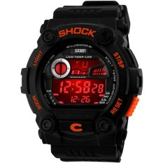 SKMEI Fashion Colorful Luminous LCD Digital Military Sport Rubber Band Mens Watch (Intl)
