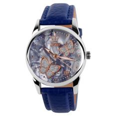 Skmei Female Fashion Waterproof Leather Strap Wrist Watch - Blue 9079