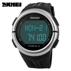 SKMEI Fitness Digital Watch Men Women Sports Watches Pedometer Heart Rate Monitor Calories Counter Outdoor Casual LED Wristwatch (Black)