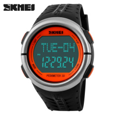SKMEI Fitness Digital Watch Men Women Sports Watches Pedometer Heart Rate Monitor Calories Counter Outdoor Casual LED Wristwatch (Orange)