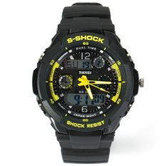 Skmei Green LED Military Watch with 2 Time Zone Chronograph Double Movts and Round Dial Yellow (Intl)