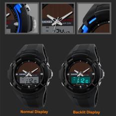 SKMEI Hombre Solar Reloj LED Digital Dual Time Deporte Outdoor Impermeable Watch Blue (Intl)