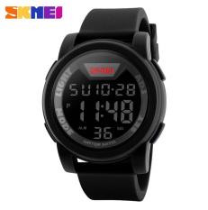 SKMEI LED Digital Chrono Watch Men Sport Wristwatches 12/24 Hour Clock Silicone Strap Waterproof Watches, Full Black - Intl