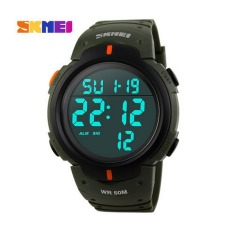 Skmei Luxury Brand Mens Sports Watches Dive 50m Digital LED Military Watch Men Fashion Casual Electronics Wristwatches Hot Clock (Army Green) - Intl