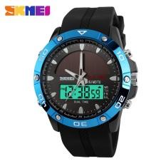 SKMEI Men Solar Dual Display Wristwatches Fashion Digital Sport Watch Chronograph Alarm Waterproof Quartz Watches 1064-Blue - Intl