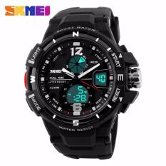 SKMEI Men Sport Analog LED Watch Anti Air Water Resistant WR 50m AD1148 Jam Tangan Pria Tali Strap Karet Wrist Watch Date Alarm Sporty Fashion Design - Hitam Putih
