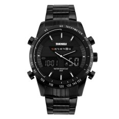 SKMEI Men's Military Black Steel Double Time Analog Digital Sports Watch (Intl)
