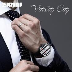 SKMEI merek Watch busana pria wanita Watch kuarsa jam tangan pria asli kulit Seng Alloy kasus atas merek wanita Relogio Masculino 1602S - intl