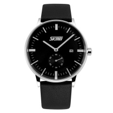 SKMEI New Style Genuine Leather Band Analog Display Date Men's Quartz Watch Black (Intl)