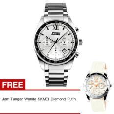 SKMEI Seize 9096CS Jam Tangan Pria - Putih - Rantai Stainless Steel - White Edition + Free Jam Tangan Wanita SKMEI Diamond 6911 Putih