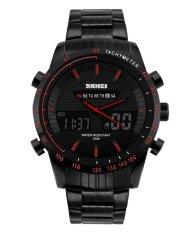 SKMEI Sport SK1131B Men's Multi Function Large Numbers Dual Display Waterproof All Black Watch (Red) - Intl