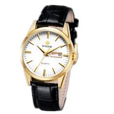 Skmei Wr8801A Mens Business Leather Strap Waterproof Quartz Watch Black (Intl)