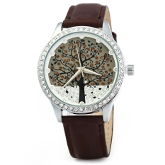 SKONE 5082 Women Quartz Imitation Diamond Wrist Watch Coffee (Intl)