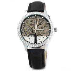 SKONE 5082 Women Quartz Imitation Diamond Wrist Watch with Tree Design Dial PU Strap-Black (Intl)
