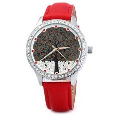 SKONE 5082 Women Quartz Imitation Diamond Wrist Watch with Tree Design Dial PU Strap-Red