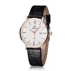 SKONE Brand Fashion Lover Watches Leather Quartz Watch Fashion Luxury Women Men Wristwatch-Black (Female)