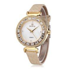 SKONE Fashion Women Watches Luxury Brand Ladies Dress Quartz Watch Bracelet Wristwatches Rhinestone Waterproof- Yellow Gold