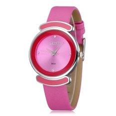 Skone Lady Rhinestone Candy Design Waterproof PU Leather Band Women Dress Watches Pink