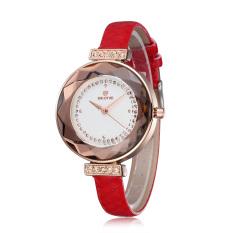 Skone Lady Rhinestone Dial Figure Hardlex Anti-resistant Mirror Watch PU Leather Band Women Watch Red (Intl)